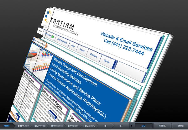 3d View Of Web Page In Firefox Inspect Element Santiam