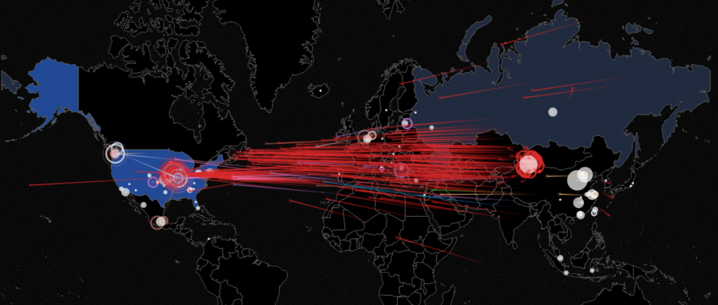 """Visualize real time """"Live Attacks"""" provided by Norse Corp"""